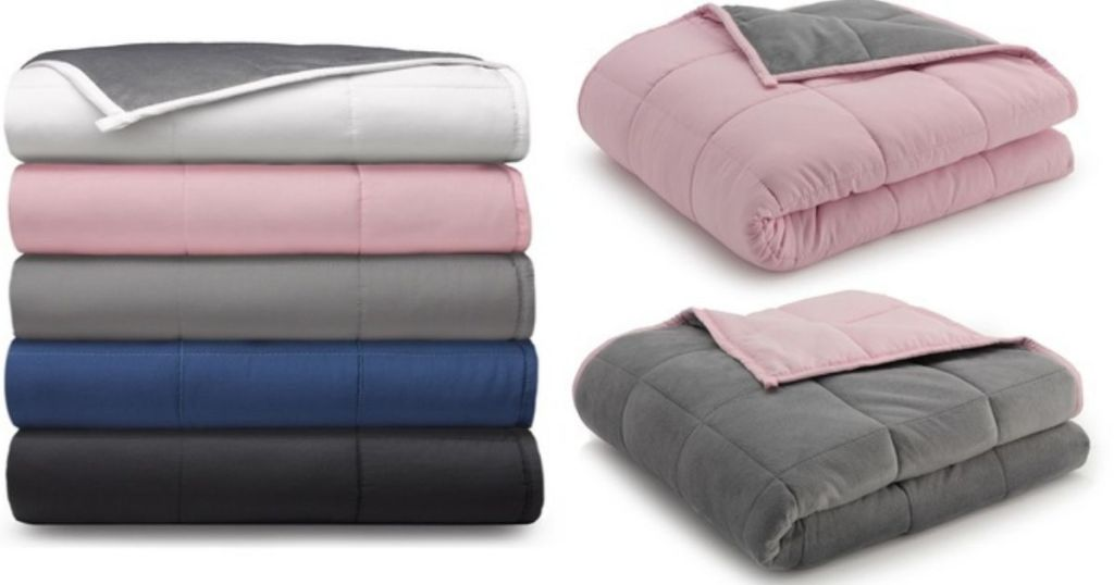 weighted blankets folded in a pile and pink and gray blankets folded on their own