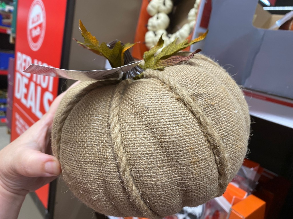 fabric pumpkin in hand at ALDI