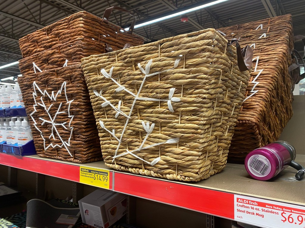 fall baskets on shelf at ALDI