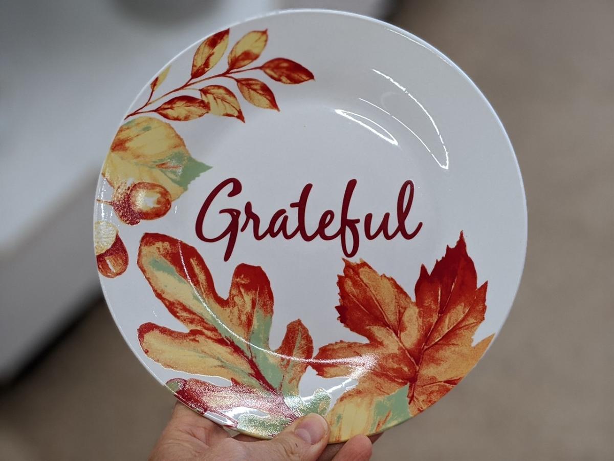 hand holding plate that has leaves painted on it with word