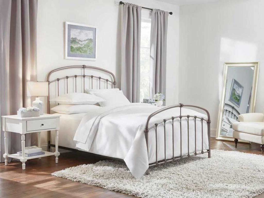 pewter farmhouse bed in bedroom