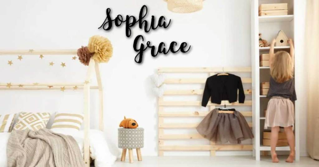 the name sophia grace on a wall in a room
