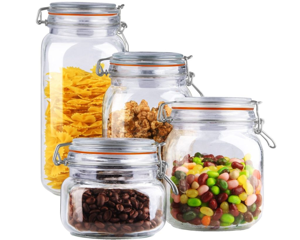 home basics food canisters with food in them