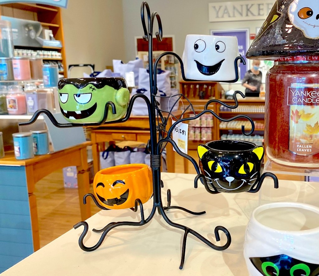 halloween themed candle holder on store table