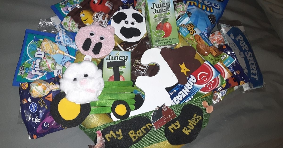 Birthday Snack Box with candy and DIY animals