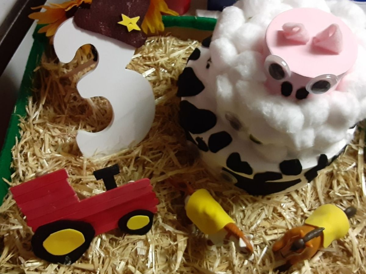 DIY birthday box display with animals, tractor and number 3