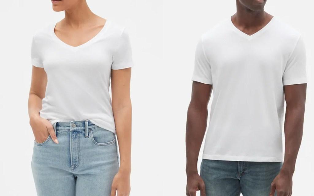 men and womens white gap tees