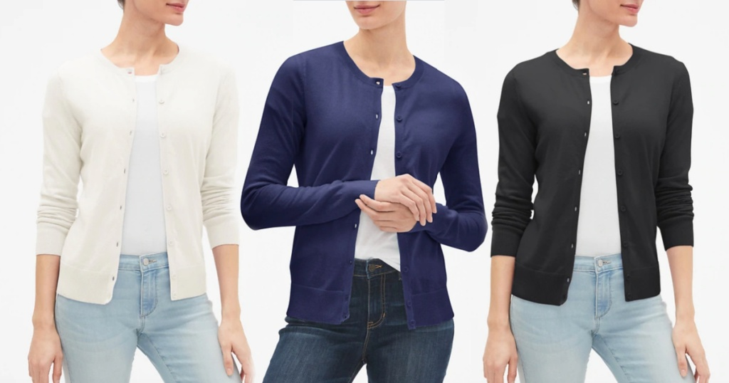 gap womens cardigans in three colors