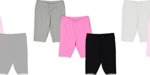 Girls Bike Shorts 3-Pack w/ Socks Only $10.50 on Walmart.com | Just $3.50 Each