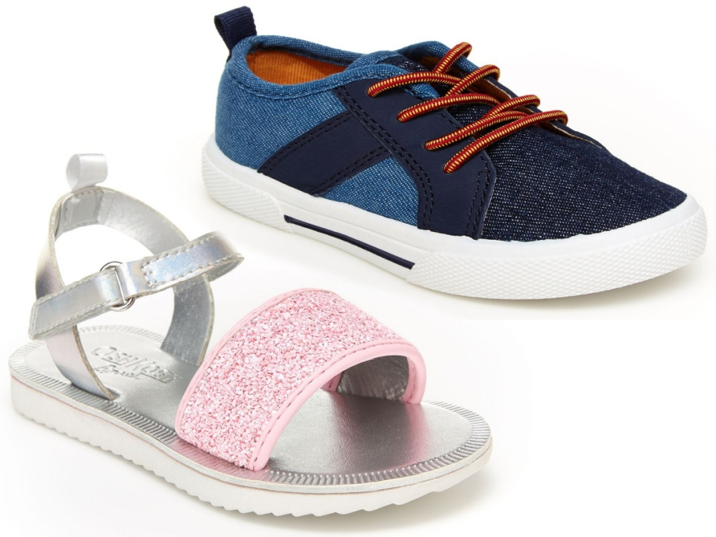 girls pink glitter sandals and boys canvas shoes