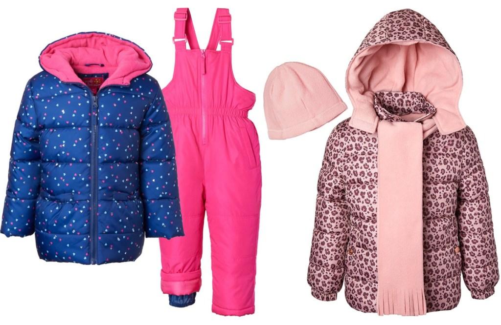 girls snow gear pink jackets and bibs