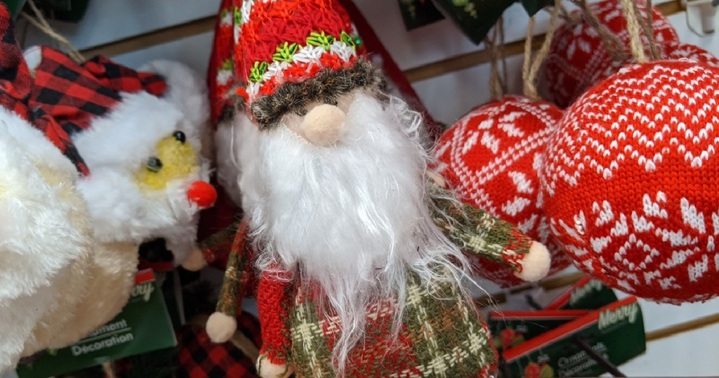 small fluffy Christmas ornament shaped like a gnome in store display
