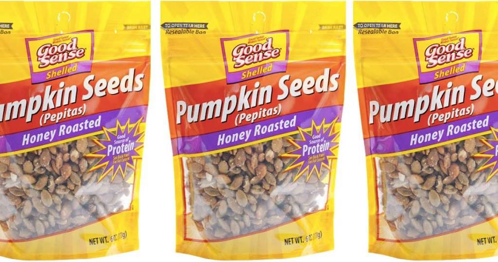 honey roasted pumpkin seeds in bags
