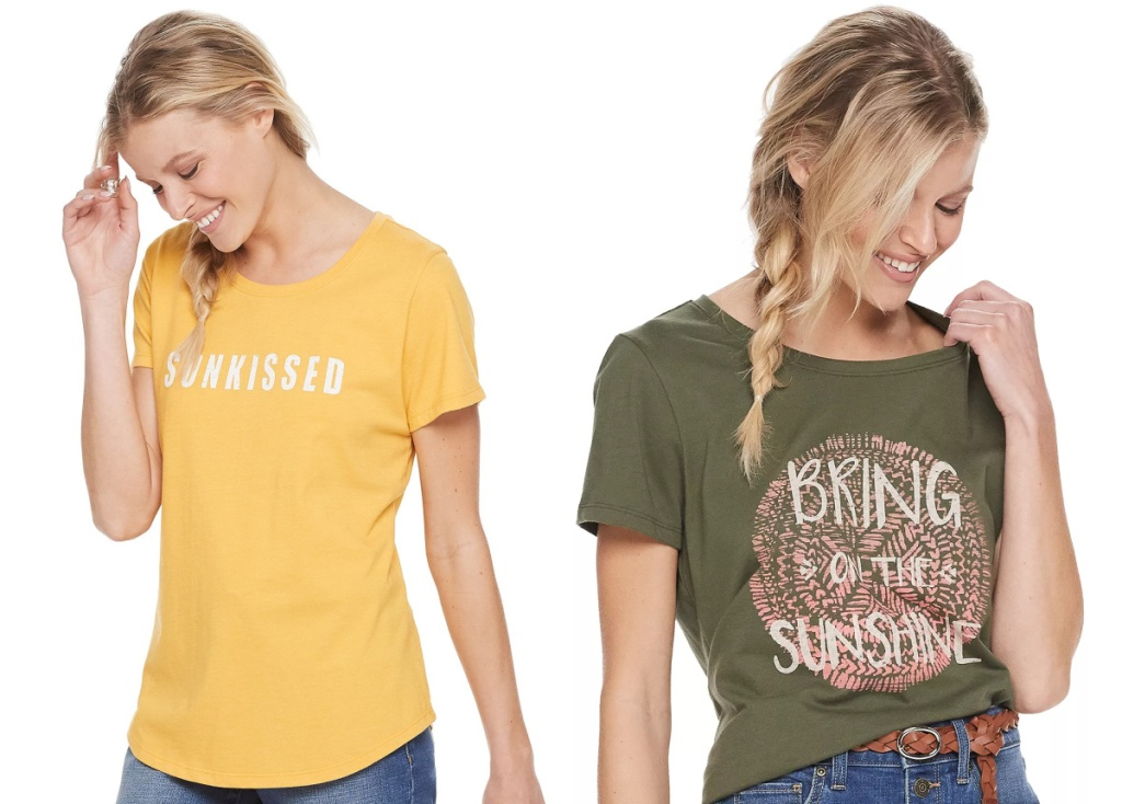 graphic tees yellow and olive at kohls