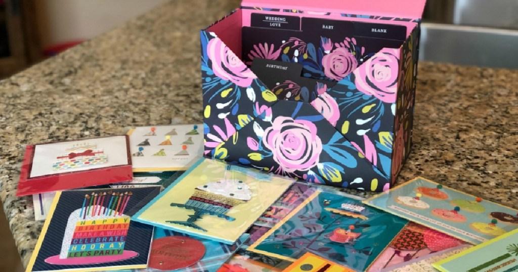 hallmark card box with cards and box
