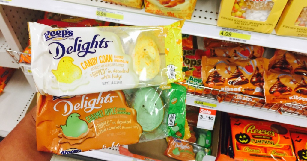candy corn peeps in hand in store