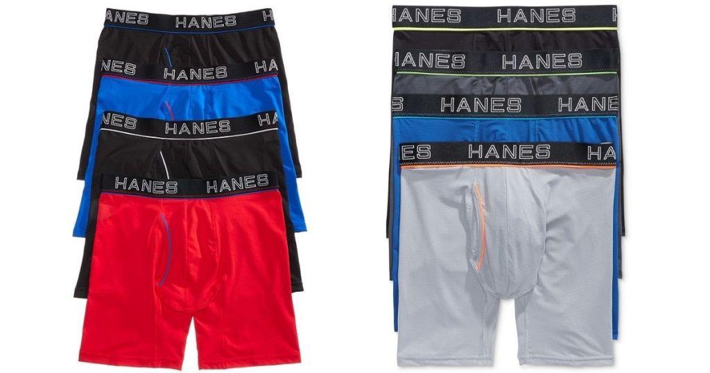Hanes mens boxer briefs in various colors