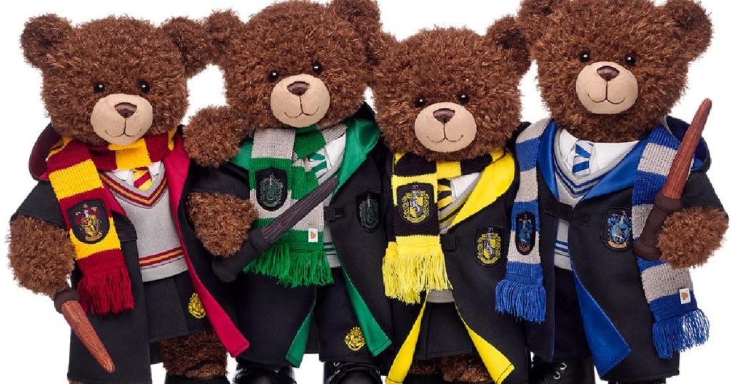 four bears dressed up like school kids