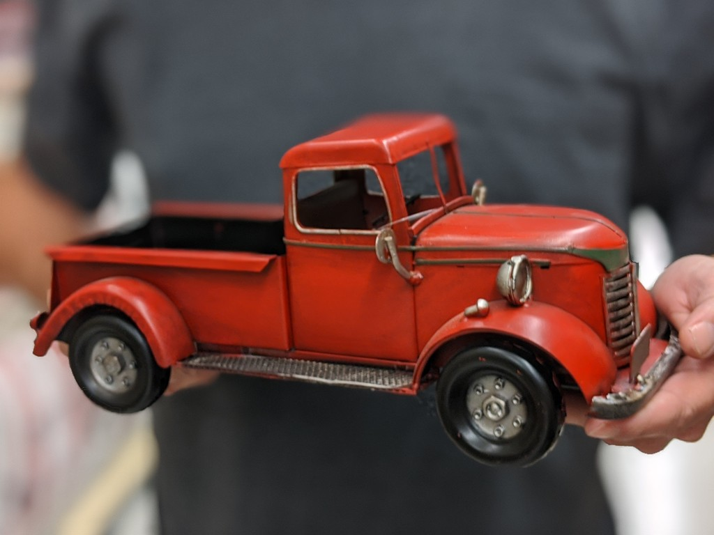 heartland holiday red vintage truck at hobby lobby in hands