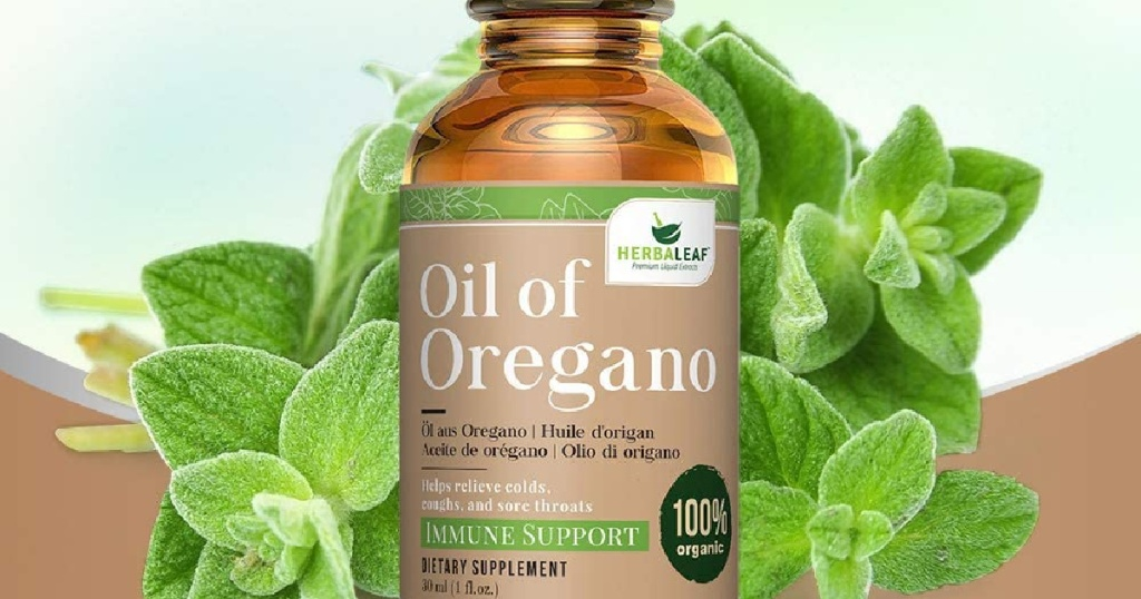 brown bottle in front of Oregano leaves