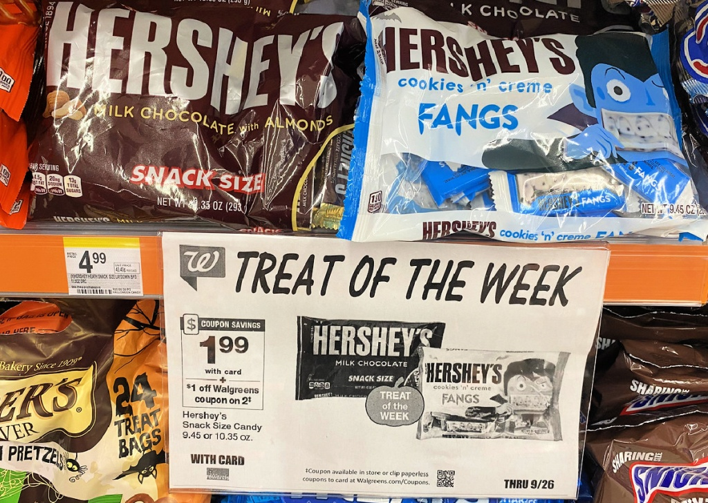 hershey's candy bags on shelf in walgreens