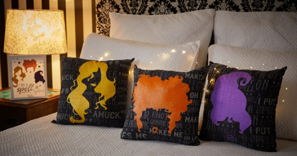hocus pocus pillows on bed