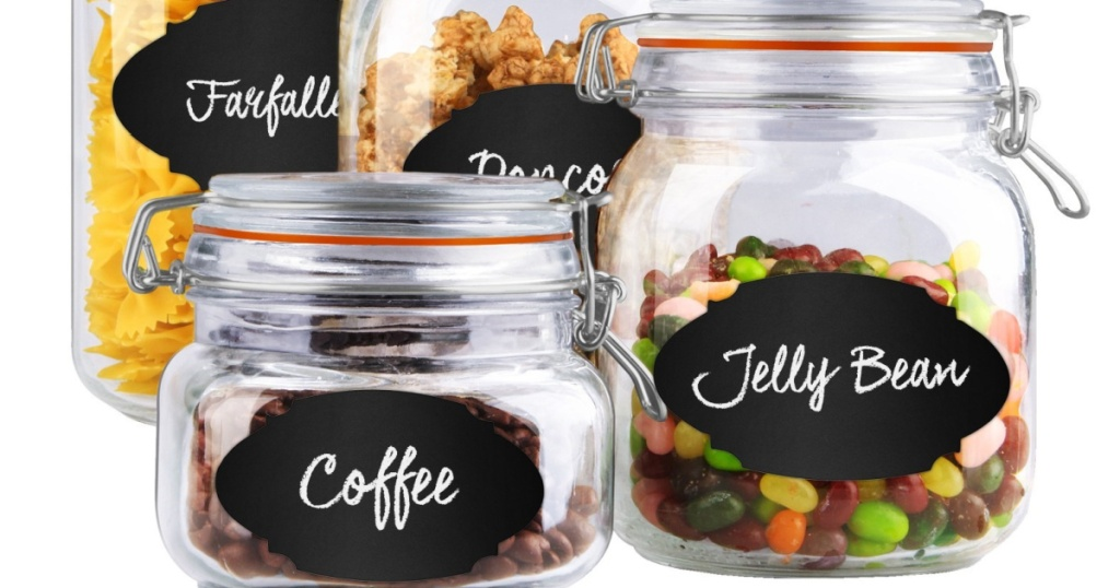 home basics food canisters w/ labels and food
