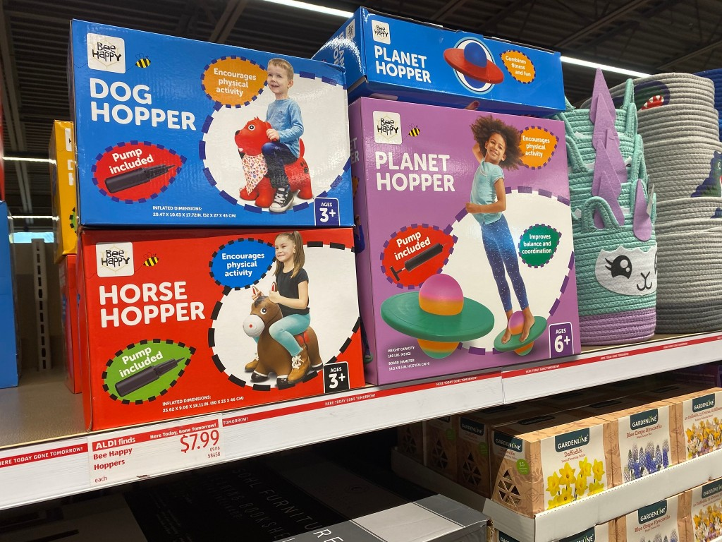 hopper toys at ALDI on shelf