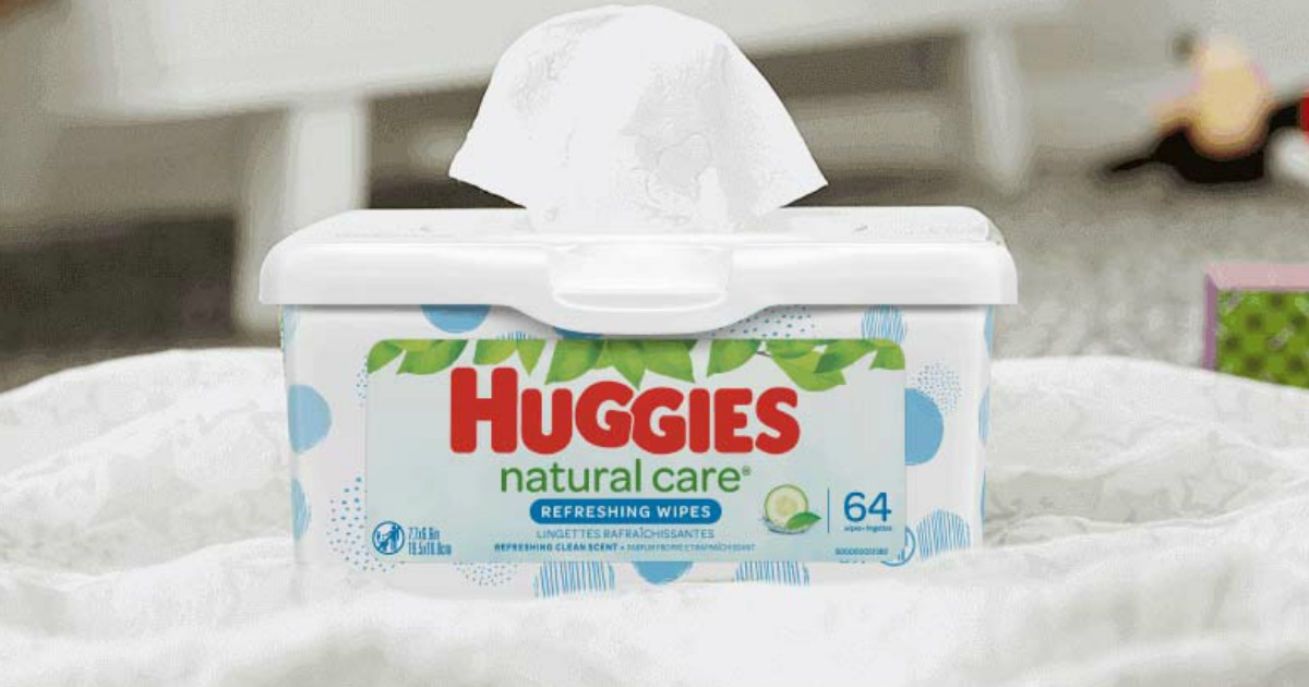 container of Huggies wipes on a counter top