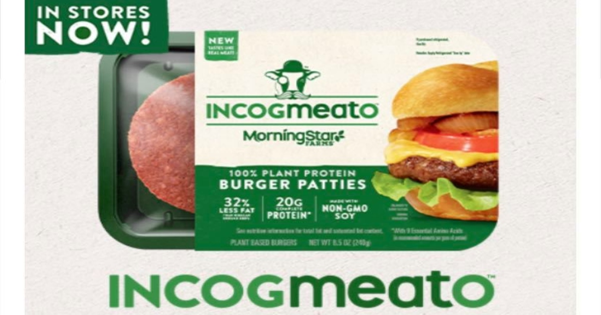 Incogmeato package in green and cream color