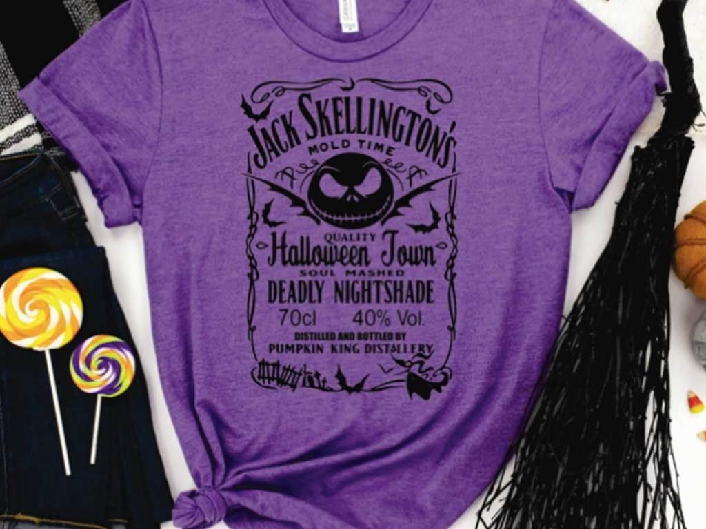 jack skellington halloween tee in purple