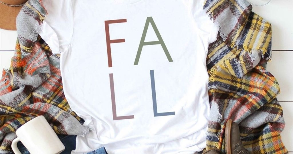 fall t-shirt on top of flannel scarf