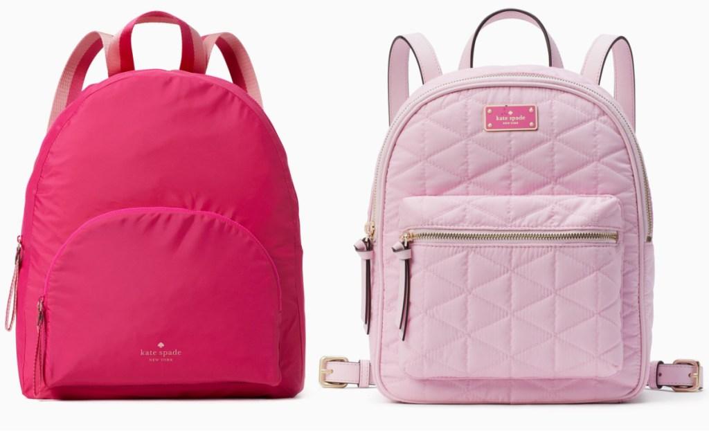 two pink kate spade backpacks