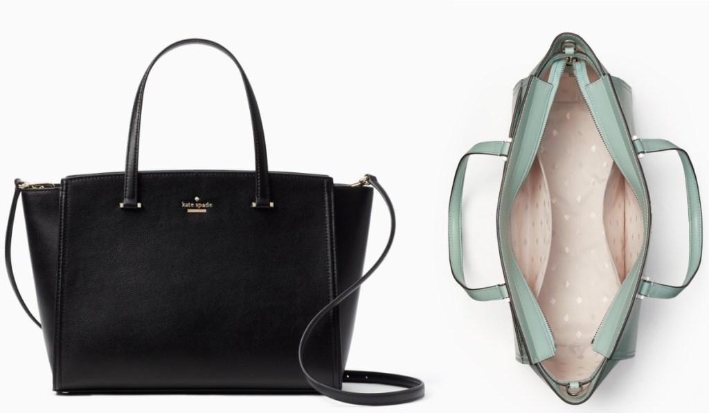 kate spade purse in black opened purse in mint
