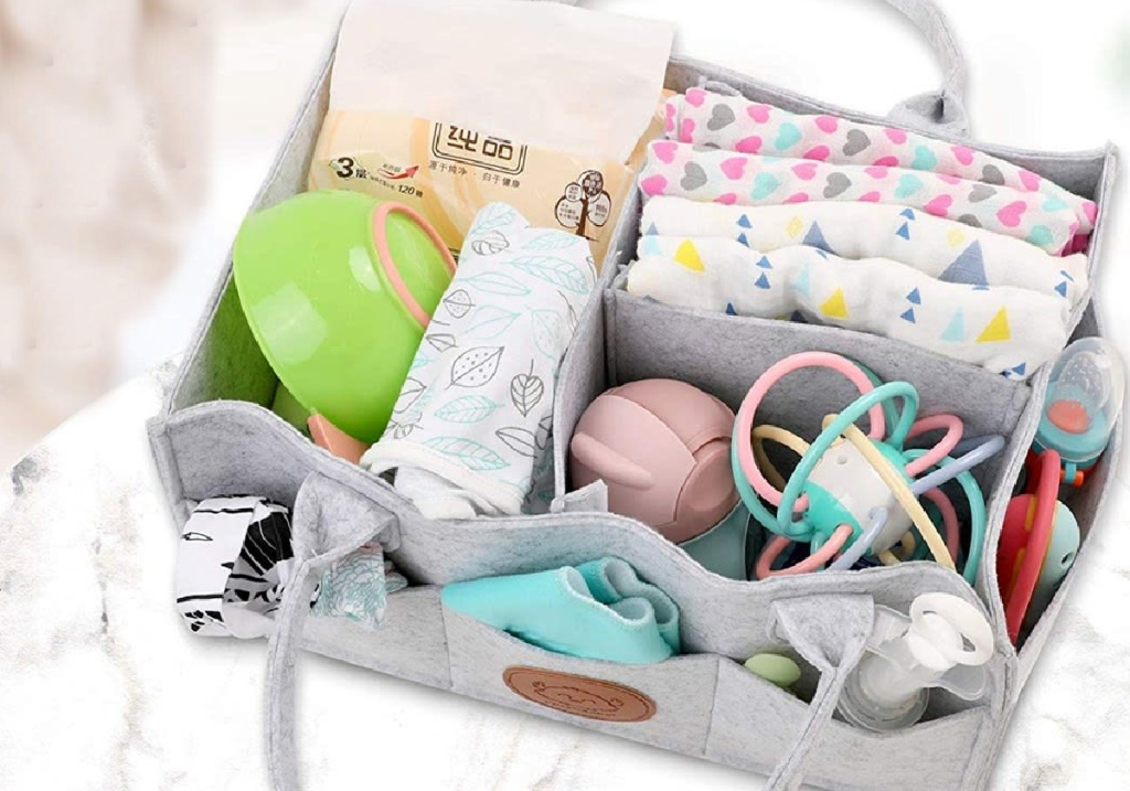 keababies diaper caddy filled with baby items