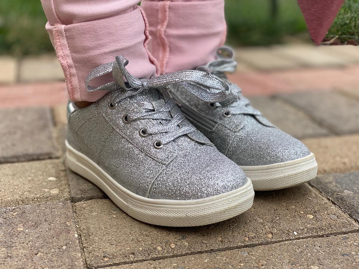 kidpik silver glitter shoes