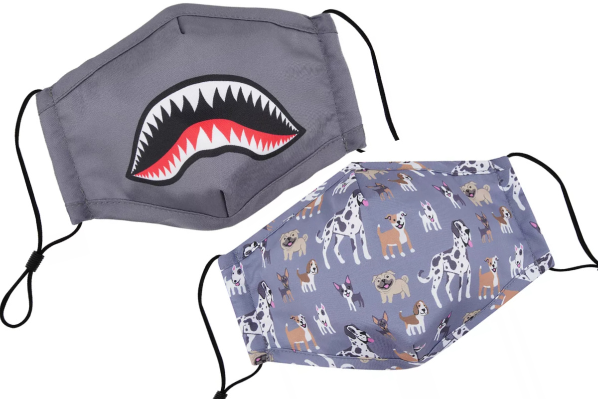 kids face masks shark mouth and dogs