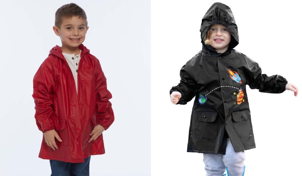 kids rocketship raincoat and red