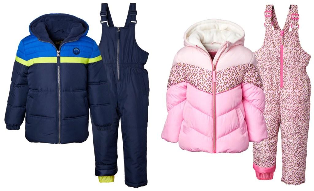 kids snow bibs blue and pink