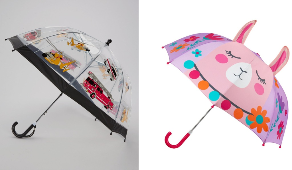 kids umbrellas firetruck and llama