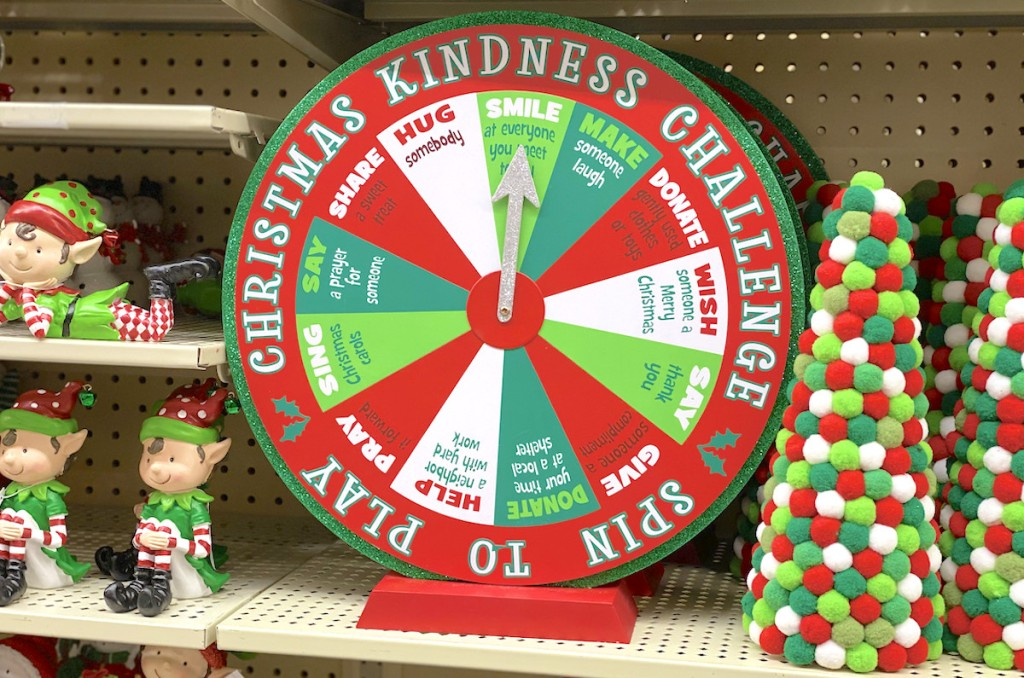 kindness challenge wheel on store metal shelf