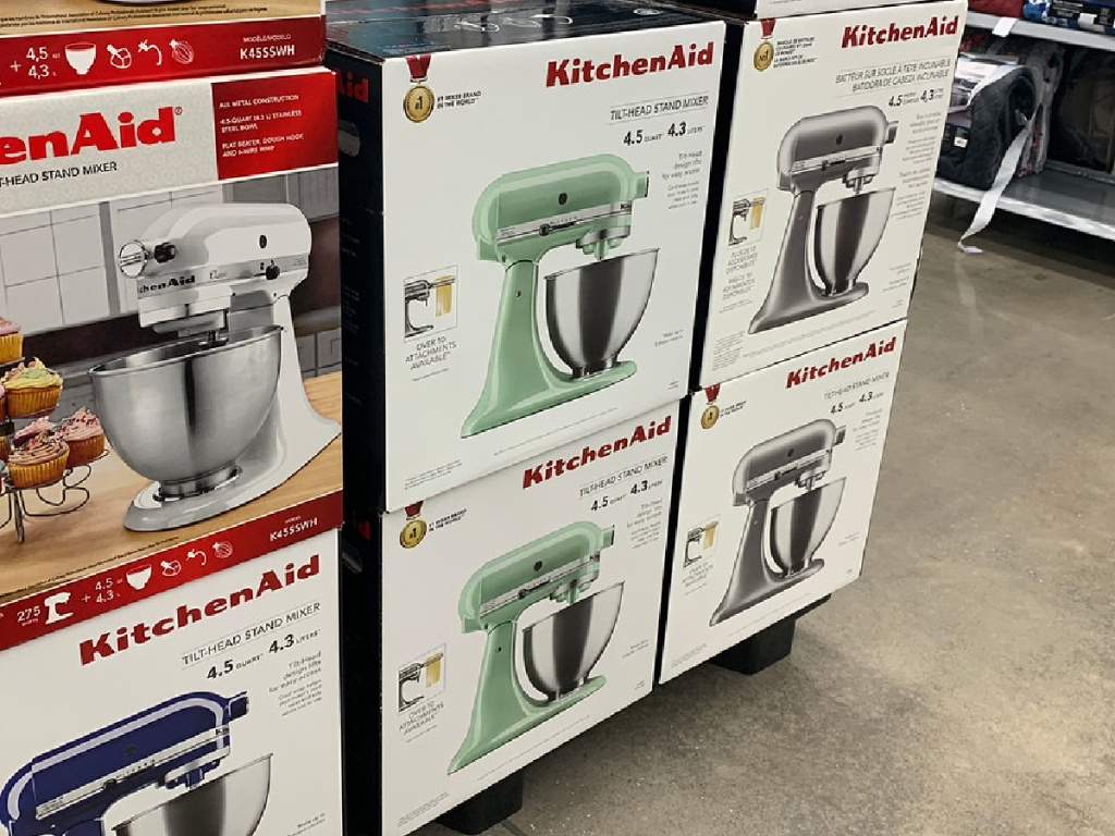 boxes in store with mixers