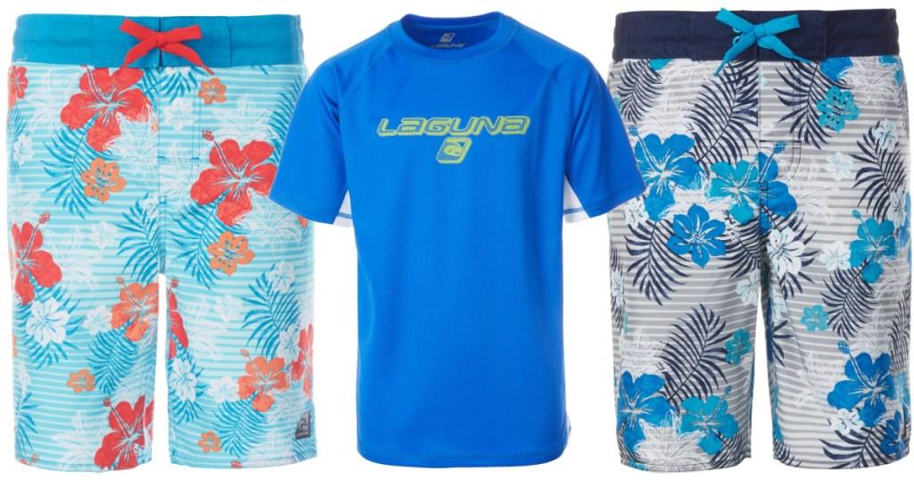 blue laguna rash guard with floral swim trunks next to it