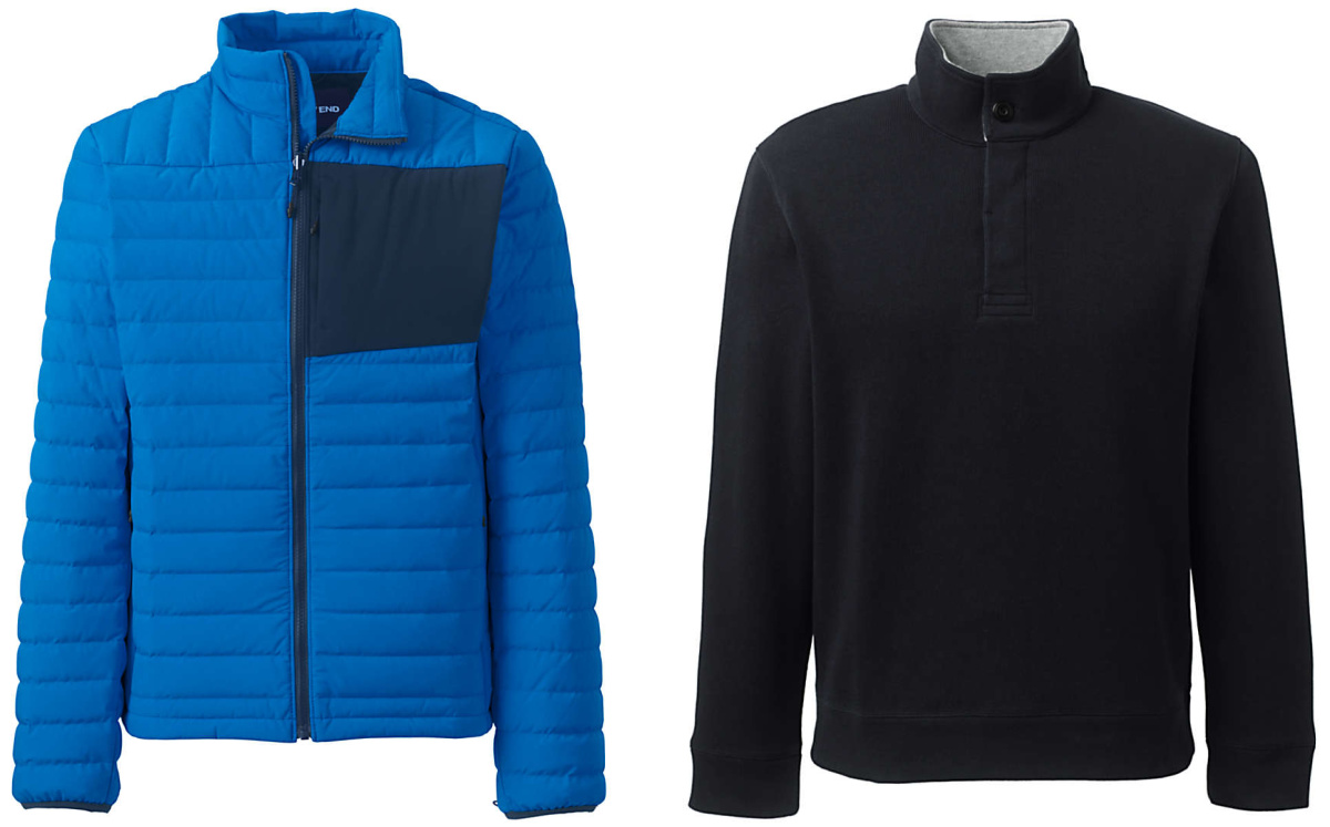 blue and black puffy jacket and black fleece pullover