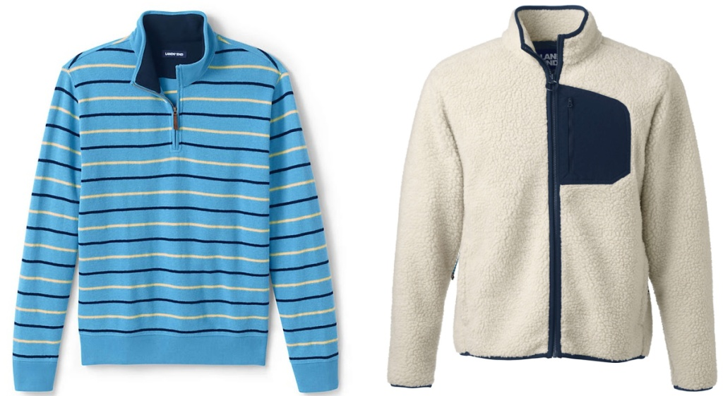 mens blue and yellow striped sweater and white and blue sherpa