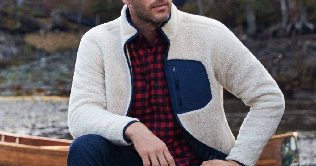 guy wearing white and blue fleece