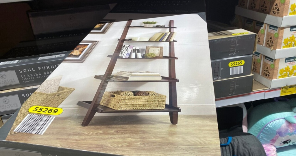 box in store with a set of bookshelves