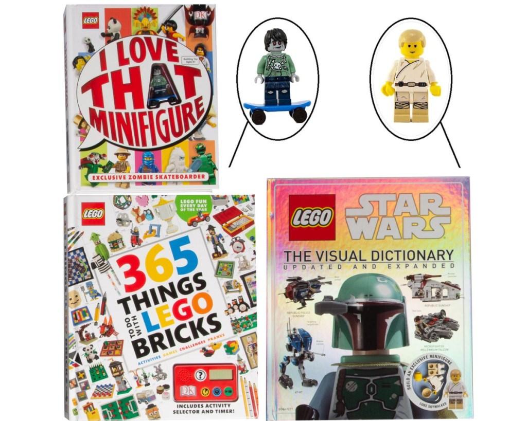 lego book set 3 books + 2 minifigures