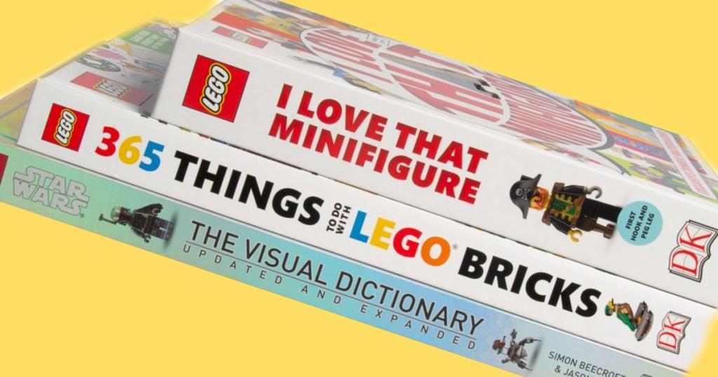 lego books three stacked
