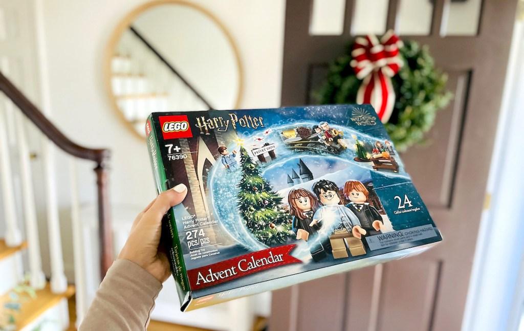 hand holding lego harry potter advent calendar